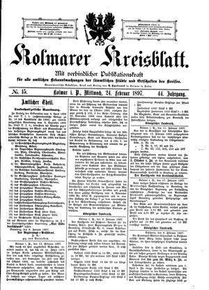 Kolmarer Kreisblatt vom 24.02.1897
