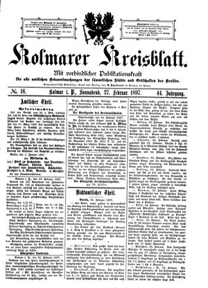 Kolmarer Kreisblatt on Feb 27, 1897