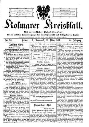 Kolmarer Kreisblatt vom 27.03.1897