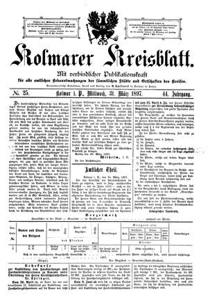 Kolmarer Kreisblatt on Mar 31, 1897