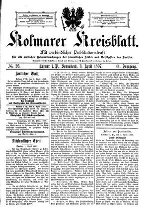 Kolmarer Kreisblatt vom 03.04.1897