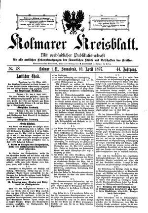 Kolmarer Kreisblatt vom 10.04.1897