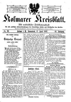 Kolmarer Kreisblatt vom 17.04.1897