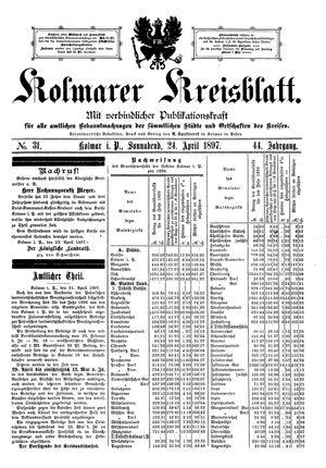 Kolmarer Kreisblatt vom 24.04.1897