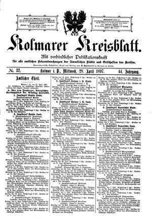 Kolmarer Kreisblatt vom 28.04.1897
