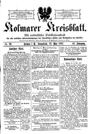 Kolmarer Kreisblatt vom 22.05.1897