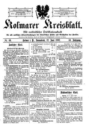 Kolmarer Kreisblatt vom 12.06.1897