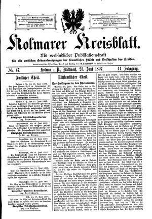 Kolmarer Kreisblatt vom 23.06.1897