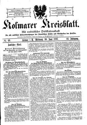 Kolmarer Kreisblatt vom 30.06.1897
