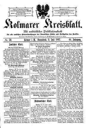 Kolmarer Kreisblatt vom 03.07.1897