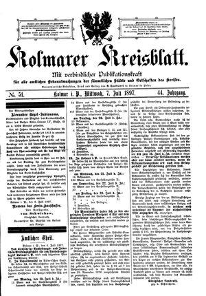 Kolmarer Kreisblatt vom 07.07.1897