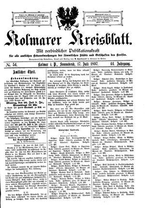 Kolmarer Kreisblatt vom 17.07.1897