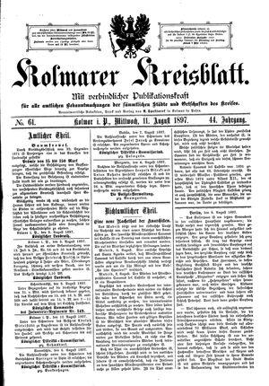 Kolmarer Kreisblatt vom 11.08.1897