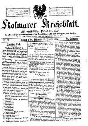 Kolmarer Kreisblatt vom 18.08.1897