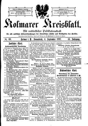 Kolmarer Kreisblatt vom 04.09.1897