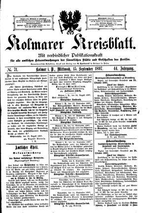Kolmarer Kreisblatt vom 15.09.1897