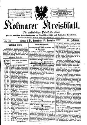 Kolmarer Kreisblatt on Sep 18, 1897