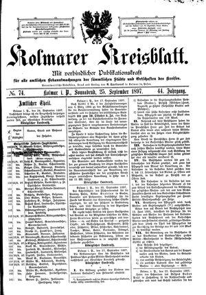 Kolmarer Kreisblatt vom 25.09.1897