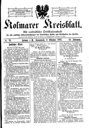 Kolmarer Kreisblatt vom 02.10.1897