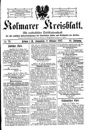 Kolmarer Kreisblatt vom 09.10.1897