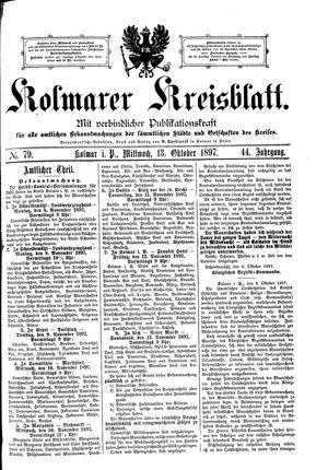 Kolmarer Kreisblatt vom 13.10.1897