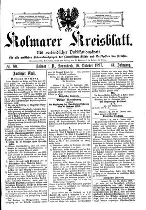 Kolmarer Kreisblatt on Oct 16, 1897