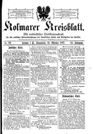 Kolmarer Kreisblatt vom 23.10.1897