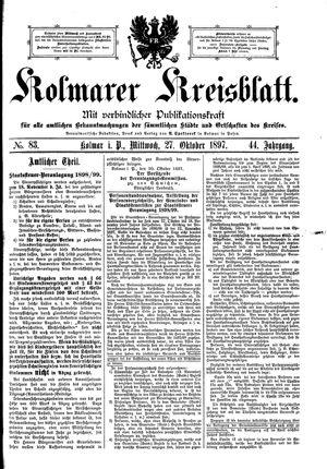 Kolmarer Kreisblatt vom 27.10.1897