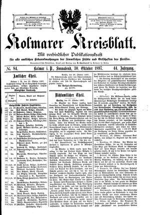 Kolmarer Kreisblatt vom 30.10.1897