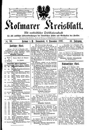 Kolmarer Kreisblatt vom 06.11.1897