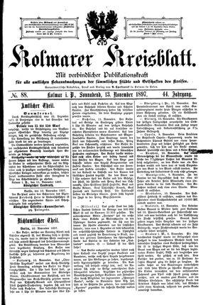 Kolmarer Kreisblatt vom 13.11.1897