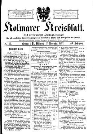 Kolmarer Kreisblatt on Nov 17, 1897