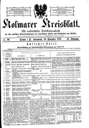 Kolmarer Kreisblatt vom 20.11.1897
