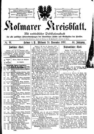 Kolmarer Kreisblatt vom 24.11.1897