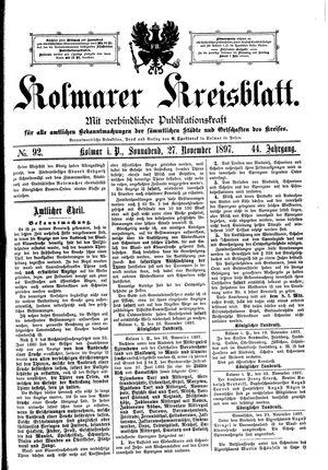 Kolmarer Kreisblatt on Nov 27, 1897