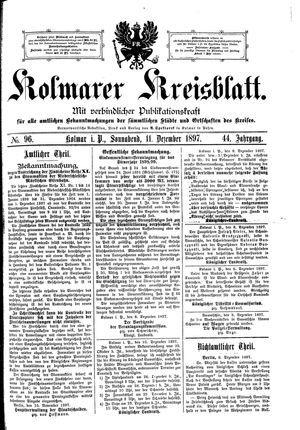 Kolmarer Kreisblatt vom 11.12.1897