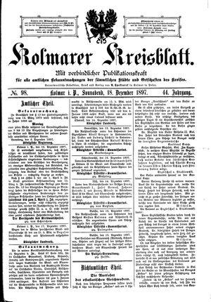 Kolmarer Kreisblatt vom 18.12.1897