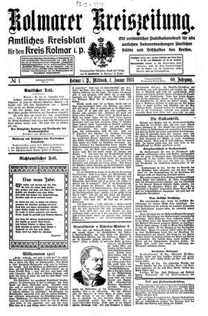 Kolmarer Kreiszeitung vom 01.01.1913