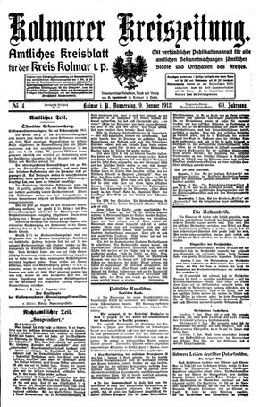 Kolmarer Kreiszeitung vom 09.01.1913