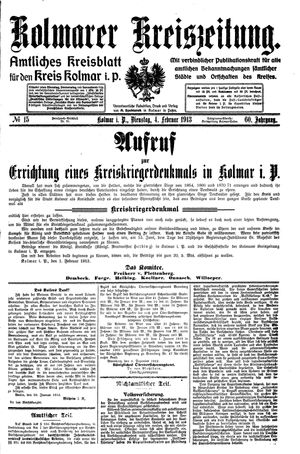 Kolmarer Kreiszeitung on Feb 4, 1913