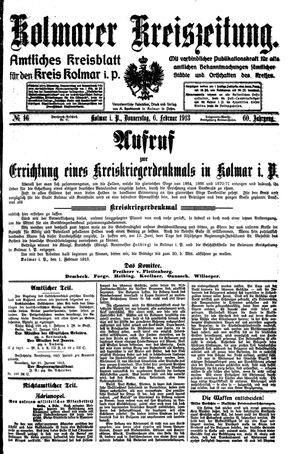 Kolmarer Kreiszeitung vom 06.02.1913