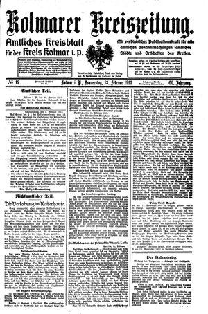 Kolmarer Kreiszeitung vom 13.02.1913