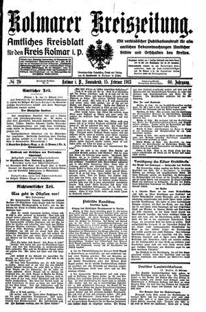 Kolmarer Kreiszeitung vom 15.02.1913