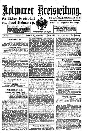 Kolmarer Kreiszeitung vom 22.02.1913