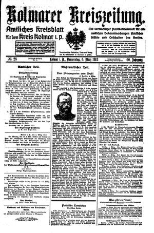 Kolmarer Kreiszeitung vom 06.03.1913