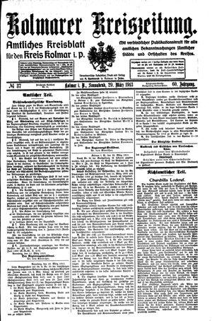 Kolmarer Kreiszeitung vom 29.03.1913