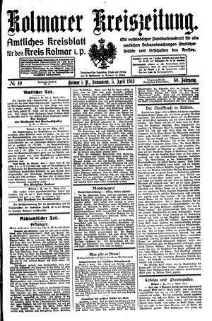 Kolmarer Kreiszeitung vom 05.04.1913