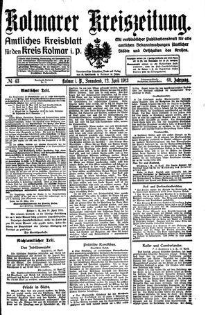 Kolmarer Kreiszeitung vom 12.04.1913