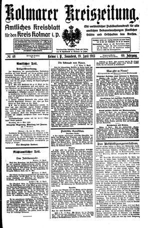 Kolmarer Kreiszeitung vom 19.04.1913