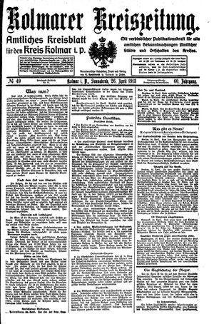 Kolmarer Kreiszeitung vom 26.04.1913